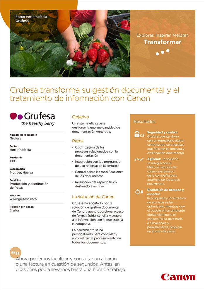 La multinacional Canon reconoce a Grufesa por la modélica transformación de su gestión documental
